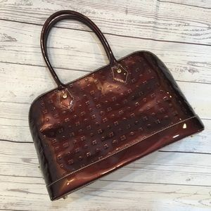 ARCADIA Patent Leather Maroon Top Handle Satchel
